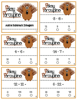 Pokey Porcupine Poke Cards: Add and Subtract Integers