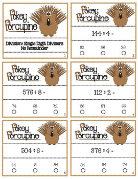 Pokey Porcupine Poke Cards: Divide with Single Digit Divisors No Remainders