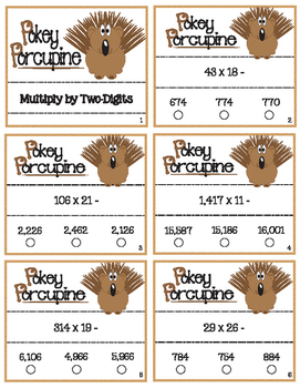 Pokey Porcupine Poke Cards: Multiply a Multiple Digit by Two-Digits