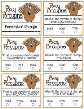 Pokey Porcupine Poke Cards: Percent of Change
