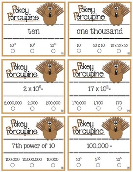 Pokey Porcupine Poke Cards: Powers of Ten & Exponents