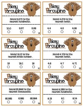 Pokey Porcupine Poke Cards: Rounding Decimals