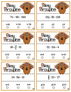 Pokey Porcupine Poke Cards: Two-Step Linear Equations