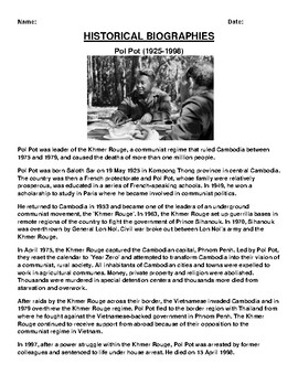 Pol Pot Biography Article and (3) Assignments