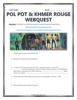Pol Pot and the Khmer Rouge - Webquest with Key