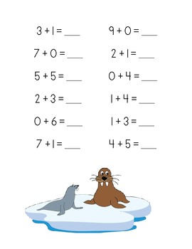 Polar Add-Venture Addition Practice Packet (Sums of 0-10)