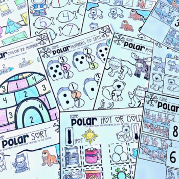 Polar Animal Math and Literacy Worksheets for Preschool (January)