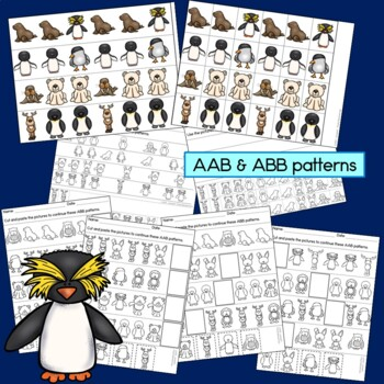 Polar Animal Patterns Math Center with AB, ABC, AAB & ABB patterns