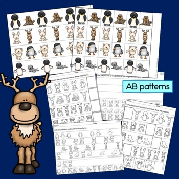 Polar Animal Patterns Math Center with AB, ABC, AAB & ABB patterns