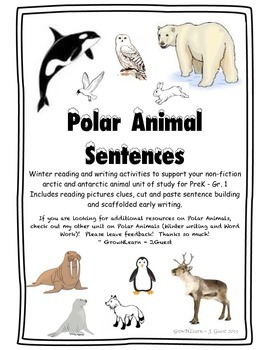 Polar Animal Sentence Building - Cut & Paste