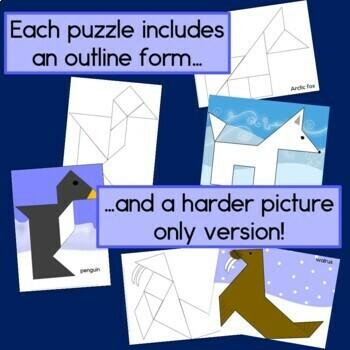 2D Shapes Center: Polar Animal Tangrams