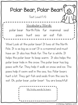 Polar Animals: CCSS Aligned Leveled Reading Passages and Activities **Bundle**