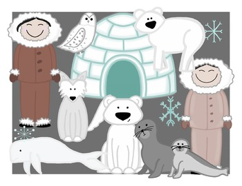 Polar Animals Digital Clip Art- Color and Black Line COMBO