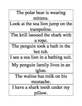 Polar Animals Literacy Center: Silly Sentences