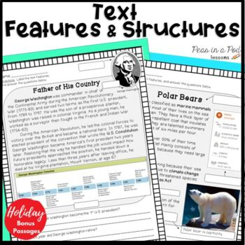 Nonfiction Text Features Worksheets  ⭐ AND ⭐ Text Structure Passages