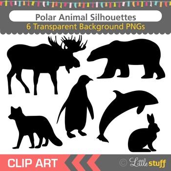 Polar Animals Silhouette Clipart, Moose, Polar Bear, Penguin, Fox, Rabbit, Orca