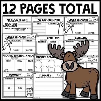 Polar Animals Themed Reading Response Worksheets