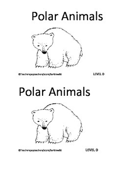 Polar  Arctic Animals Penguin Printable Book: Guided Reading Level D with PLANS