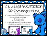 Polar Bear 2 & 3 Digit Subtraction QR Scoot Scavenger Hunt