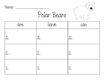 Polar Bear ARE HAVE CAN Chart Worksheet