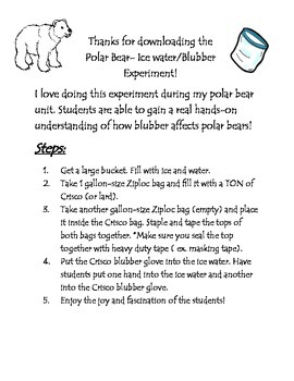 Polar Bear- Blubber Glove Experiment