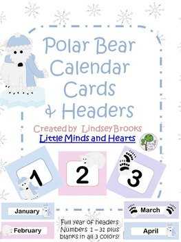 Polar Bear Calendar Cards and Headers (Full Year)