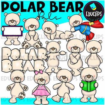 Polar Bear Clip Art Bundle {Educlips Clipart}