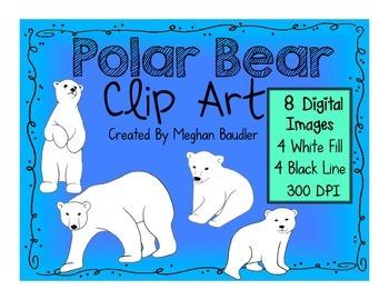 Polar Bear Clip Art- Digital Art Pack!