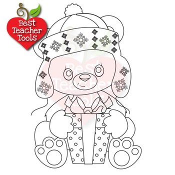 Polar Bear Clipart, Digital Stamps, Baby Bear Outline, AMB-2286
