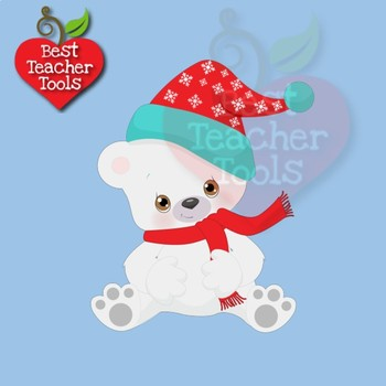 Polar Bear Clipart, Winter Bear Clipart, Cute Baby Bears, AMB-2274