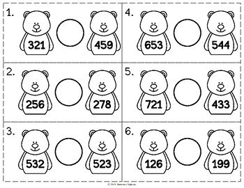 Polar Bear Comparing 3-Digit Numbers Math Center