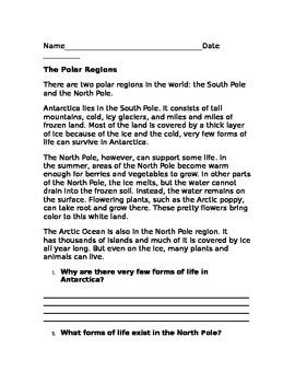 Polar Bear Comprehension Exit Ticket
