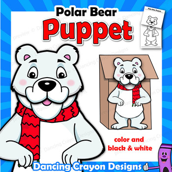 Polar Bear Craft Activity   Printable Paper Bag Puppet Template