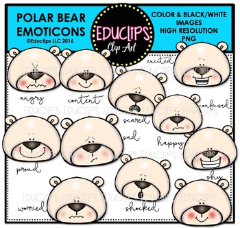 Polar Bear Emoticons Clip Art Bundle  {Educlips Clipart}
