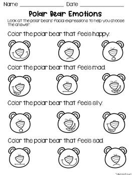 Polar Bear Emotions Worksheets