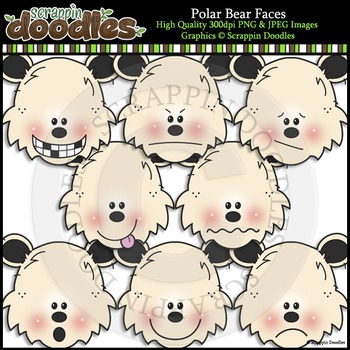 Polar Bear Faces Clip Art & Line Art