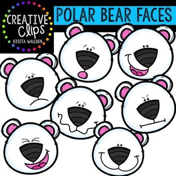 Polar Bear Faces {Creative Clips Digital Clipart}