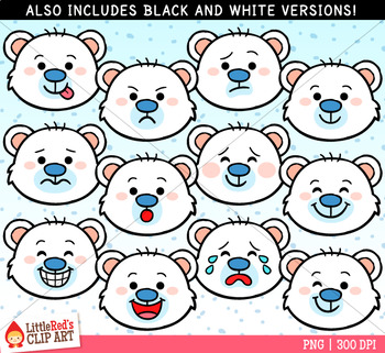 Polar Bear Faces Winter Clip Art