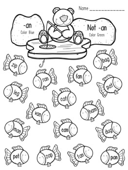 Polar Bear Ice Fishing - CVC Words Coloring Pages - Short A Word Patterns