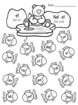 Polar Bear Ice Fishing - CVC Words Coloring Pages - Short E Word Patterns