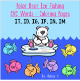 Polar Bear Ice Fishing - CVC Words Coloring Pages - Short