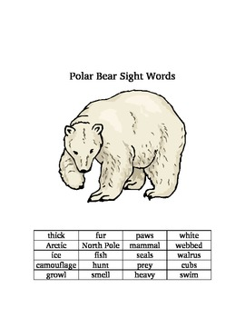 Polar Bear Information and Sight Words
