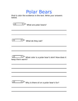 Polar Bear Informational Comprehension Pack