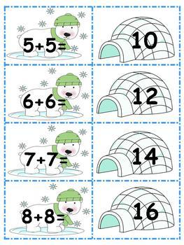 Polar Bear Math Centers - Doubles and Doubles Plus 1 - CCSS Aligned