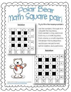 Polar Bear Math Square Pair! ~ Winter Theme 4x4 Intermediate Math Square Pair