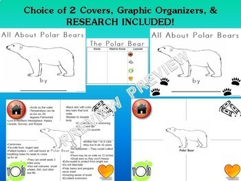 Polar Bear NO PREP Research Report Unit Bundle - Kindergarten 1st 2nd