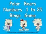 Polar Bear Number Bingo Games- Numbers 1 to 25 Winter Kindergarten