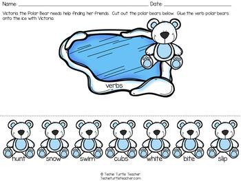 Polar Bear Parts of Speech-Nouns, Adjectives, Verbs-Center Activity and Practice
