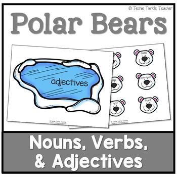 Polar Bear Parts of Speech-Nouns, Adjectives, Verbs-Center