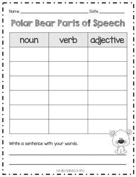 Polar Bear Parts of Speech {Nouns, Verbs, Adjectives}